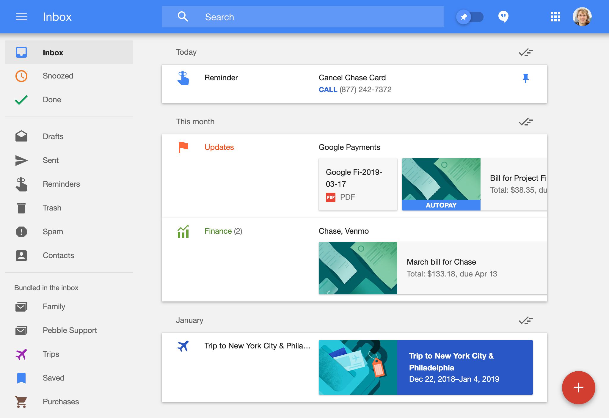 Screenshot showing Google Inbox, with several of my personal emails