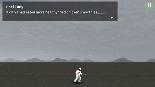 The chef stands alone, forgotten, in a rain-soaked wasteland