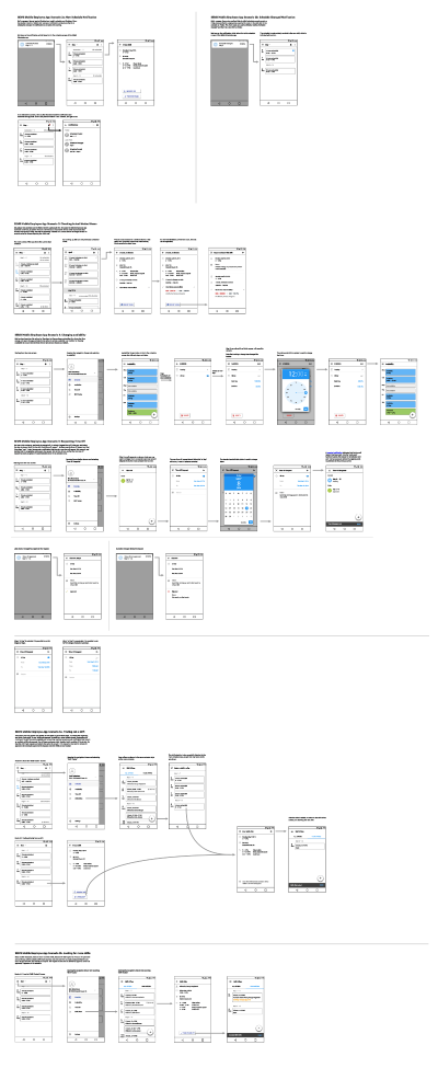 Wireframe showing shift offer flow